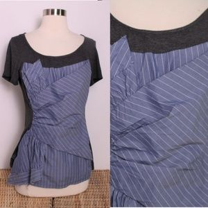One September Anthro Blue Striped Twist Layer Tee